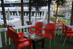 Градински червени столове, от пластмаса