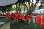 Пластмасови червени столове за кефенета