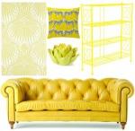 Диван Chesterfield в жълто